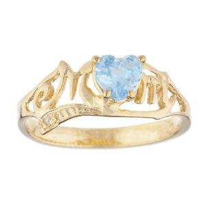 14Kt Gold Blue Topaz & Diamond Heart Mom Ring