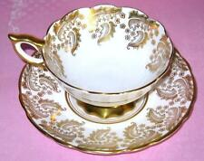 ROYAL STAFFORD HEAVY GOLD CHINTZY WHITE TEA CUP AND SAUCER FINE BONE CHINA