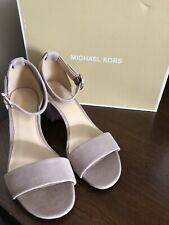 MICHAEL KORS LENA TRUFFLE OPEN TOE ANKLE STRAP SUEDE/LEATHER SHOES SIZE 7. NEW
