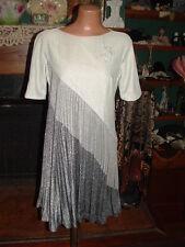 VTG  MOD HIPPIE TWIGGY STYLE METALLIC THREAD TENT DRESS ACCORDION PLEAT/60s-70's