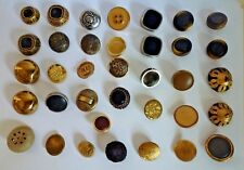 Lof of 36 Vintage Art Deco Metal, Leather and Plastic Buttons 18-28 mm