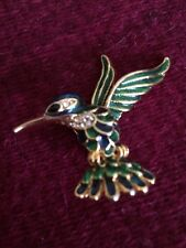 Hornbill Bird Pin Brooch Gold Blue Green Enamel Sitting