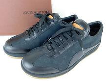 395c90fc6d26 Auth LOUIS VUITTON Monogram Mini Canvas Leather Sneakers Black Size 38 1 2  + Box