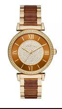 Michel Kors Women's Gold-Tone Amber Acetate Satinless Steel Watch MK 3411 *NWT*
