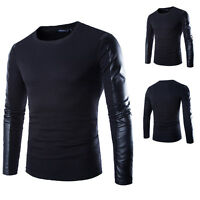 Men's Long Sleeve Slim Casual Shirts PU Leather Splice Pullover hoodie Coats Top