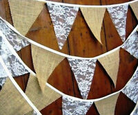 Modern 3.5m Hessian Lace Bunting Flags Rustic Burlap Banner Party Decoration