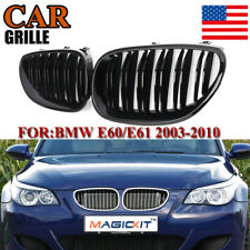 Carbon Fiber Style Front Grille Sport For BMW E60 E61 M5 5Series 528i 530i 03-09