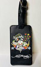 "Ed Hardy Faux Black Leather  Luggage Tag ""DEATH or GLORY """