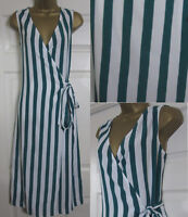 NEW M&S Marks & Spencer Striped Wrap Shift Dress Summer Midi Green Ivory 6-18