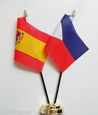 Spain & Philippines Double Friendship Table Flag Set
