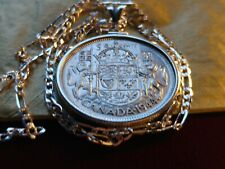 """Antique Rare 1944 CANADA Silver Coinage Pendant on an 20"""" Sterling Silver Chain"""