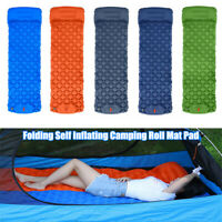 Self Inflating Camping Roll Mat Pad Sleeping Bed Pillow Hiking Car Air Mattress