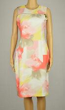 Calvin Klein Womens Coral Yellow Floral Print Zipper Sheath Dress 6