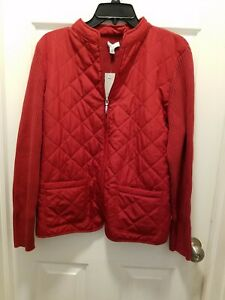 NWT Croft & Barrow Women's Petite Zip Up Quilted Sweater Jacket, Size XLarge P