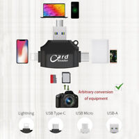 4 in1 Micro USB/SD Type C OTG TF Card Reader for Android iOS iPhone 7 6S SE Plus