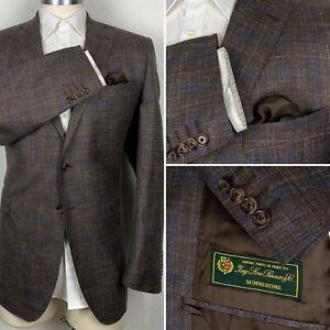 Loro Piana Silk Wool Linen Custom Emilio Yuste Plaid Blazer Sport Coat 44L