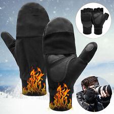 Men Women Winter Warm Fliptop Gloves Fingerless Convertible Photography Mittens
