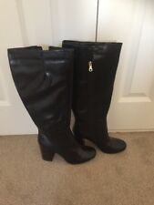 TU Black Leather Knee Length Boots In Excellent Condition