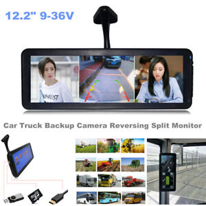 "12.2"" 9~36V Car Truck Backup Camera Reversing Split Monitor Record 2 Video Input"