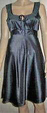 DOROTHY PERKINS Silver Satin Look Frill Tie Neck Belted Party Dress Size 10