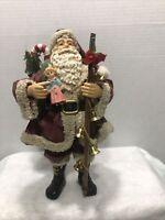 "Vintage 90's Bronson Fabric Mache Santa Claus W/Toys 10 1/2"" Collectible"