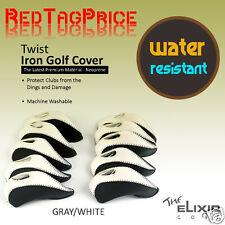 10Pcs Neoprene Golf  IRON COVERS HEAD GOLF IRON COVER  Gray White US SHIP