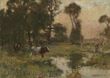 Dream-art Oil painting Rancher with cows in landscape by stream- Impressionism