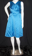 DAVIDS BRIDAL DRESS GOWN SIZE 8 BLUE PROM FORMAL KNEE LENGTH RUCHED TOP