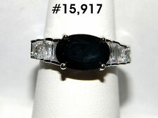 #15917 Oval 11x4mm Black Sapphire w/White Topaz Gemstone 18k WGP Ring Sz - 7¼