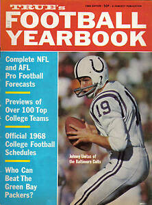 1968 True's Football Yearbook, Johnny Unitas, Baltimore Colts INK STAMP