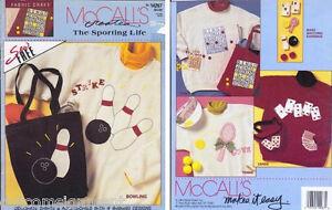 McCall's Sporting Life No Sew Fabric Paint Craft Bowling Bingo Tennis & Cards