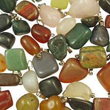 Wholesale 50 Mixed Assorted Gemstone Crystal Nugget Charm Pendants