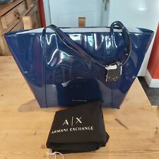WOMEN'S DESIGNER SHOPPING TOTE BAG ARMANI EXCHANGE NAVY WITH BAG COVER