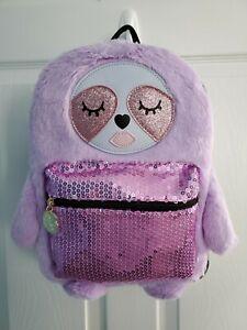 Betsey Johnson Purple Faux Fur Sloth Sequin-Pocket Backpack NWT