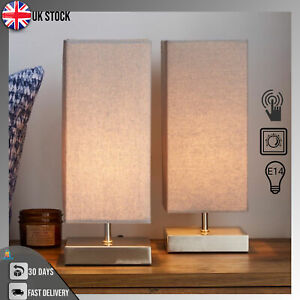 Set of 2 Grey Touch Dimmable Table Lamps Light Bedside Bedroom Lamp Dine Decor