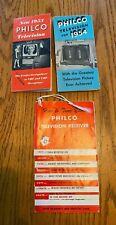 Vintage 1953 Philco Television TV Brochure, 1950 Hangtag, 1954 Brochure