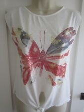 Ladies size 8 Atmosphere cream with Union Jack butterfly sleeveless summer top