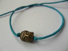 KARMASTRING turquoise tie-on bracelet & bronze buddha head thai gypsy surf
