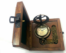Artshai Antique look sundial design pocket watch with Sheesham box,diwali gift