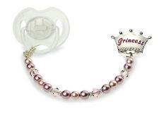 Pink Crown w/ Swarovski Pearls & Crystals, Sterling Silver Spacers Pacifier Clip