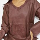 hippie-tunique-chemise-longue chemise, om-brodé, marron taille L Goa Inde