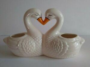 Vintage White Kissing Swans Double Planter Heart Shape Love Birds Ceramic