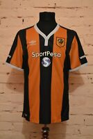 HULL CITY HOME FOOTBALL SHIRT 2016/2017 SOCCER JERSEY TRIKOT UMBRO MENS LARGE