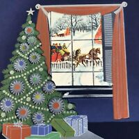 Vintage Mid Century Christmas Greeting Card Tree Gifts Window Dark Blue Room