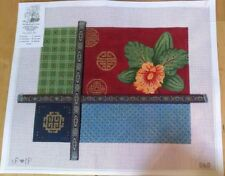 Green Orchid and patterns with ribbons  HP Needlepoint canvas
