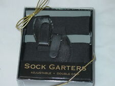 Pair of Sock Garters Mens Double Grip black elastic double grip adjustable