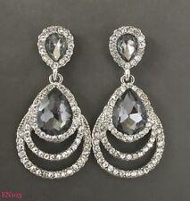 Dangling Modern Jewellery Silver Diamante earrings