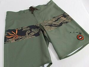 NWT Quiksilver HIGHLINE HAWAII 20 BOARDSHORT 4-Way Stretch OLIVE Trunk   MENS 34