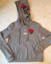 HONEY PUNCH Grey Hoodie Sweatshirt Top Embroidery Roses Distressed Detail~ Small
