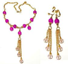 GOLD STATEMENT NECKLACE CLIP-ON EARRING SET pink gypsy vintage antique style